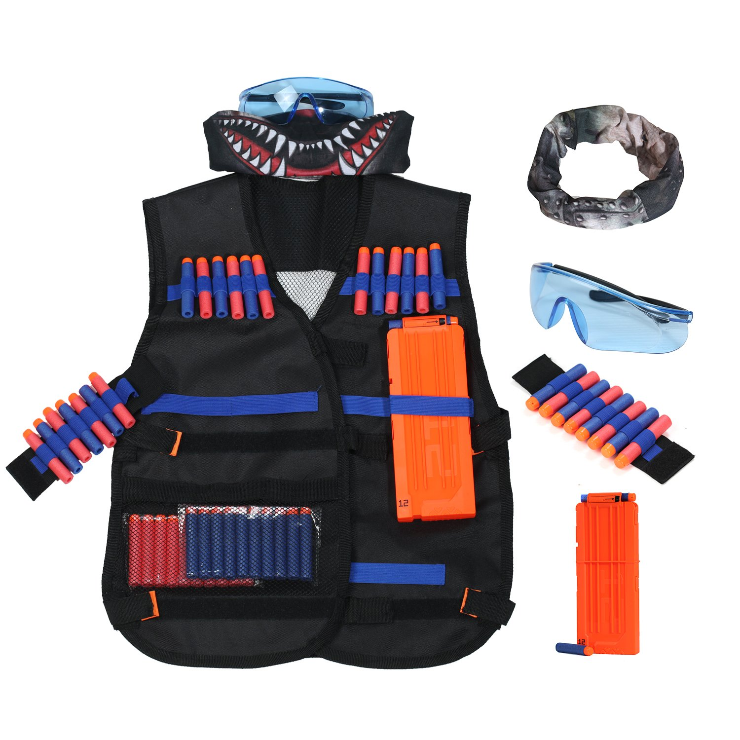 Kids Tactical Vest Kit for Nerf Guns N-Strike Elite Series, include Refill Darts Reload Clips Tube Mask and Protective Glasses by Vopa