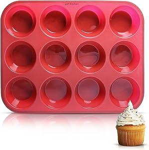 Lof Kitchen 12 Cups Silicone Muffin Pan - 100% Food Grade Silicone Muffin Pan 12 - Cupcake Pan - Non-Stick - BPA-Free Silicone Muffin Tin