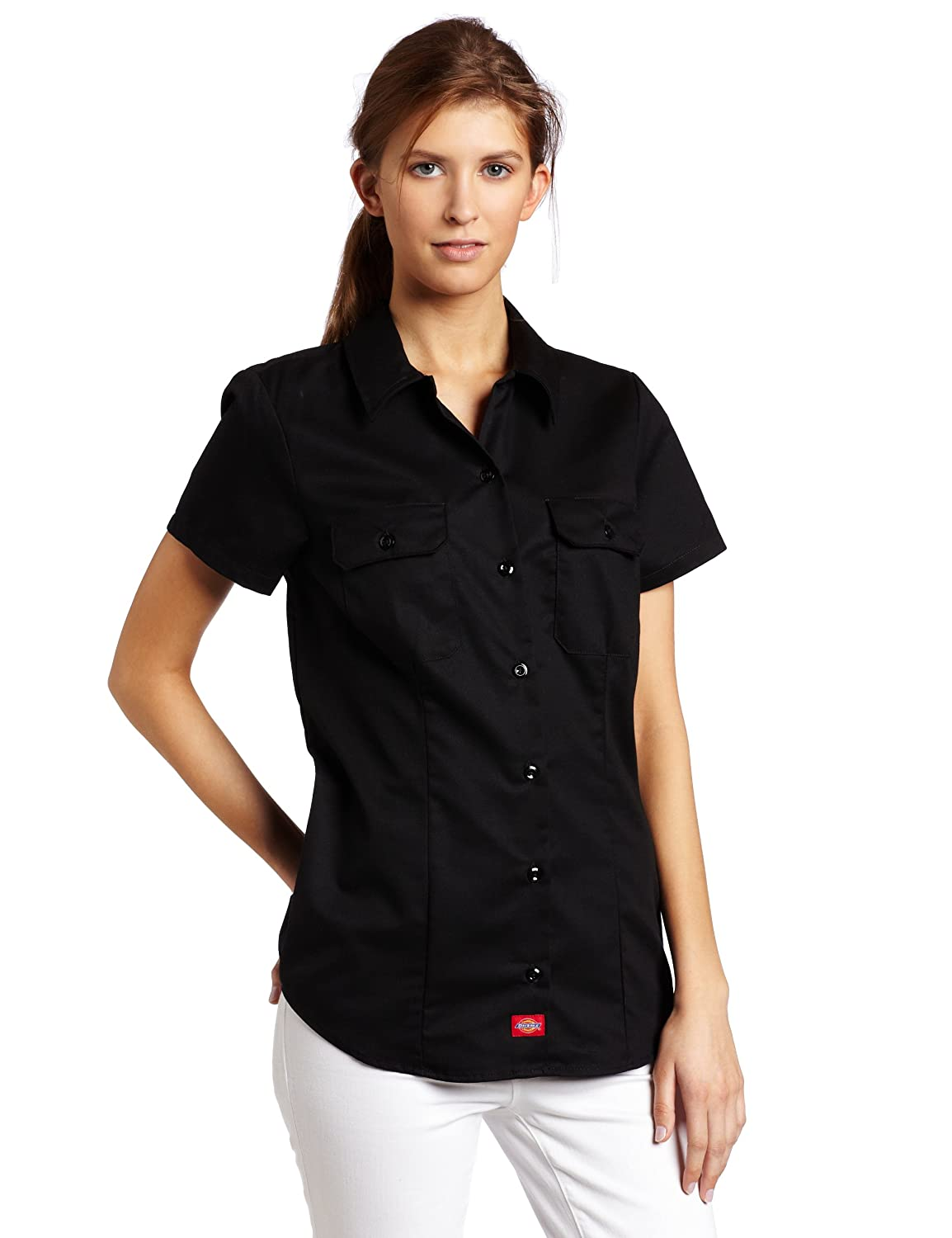 Dickies Women's Short-Sleeve Work Shirt at Amazon Women's Clothing ...