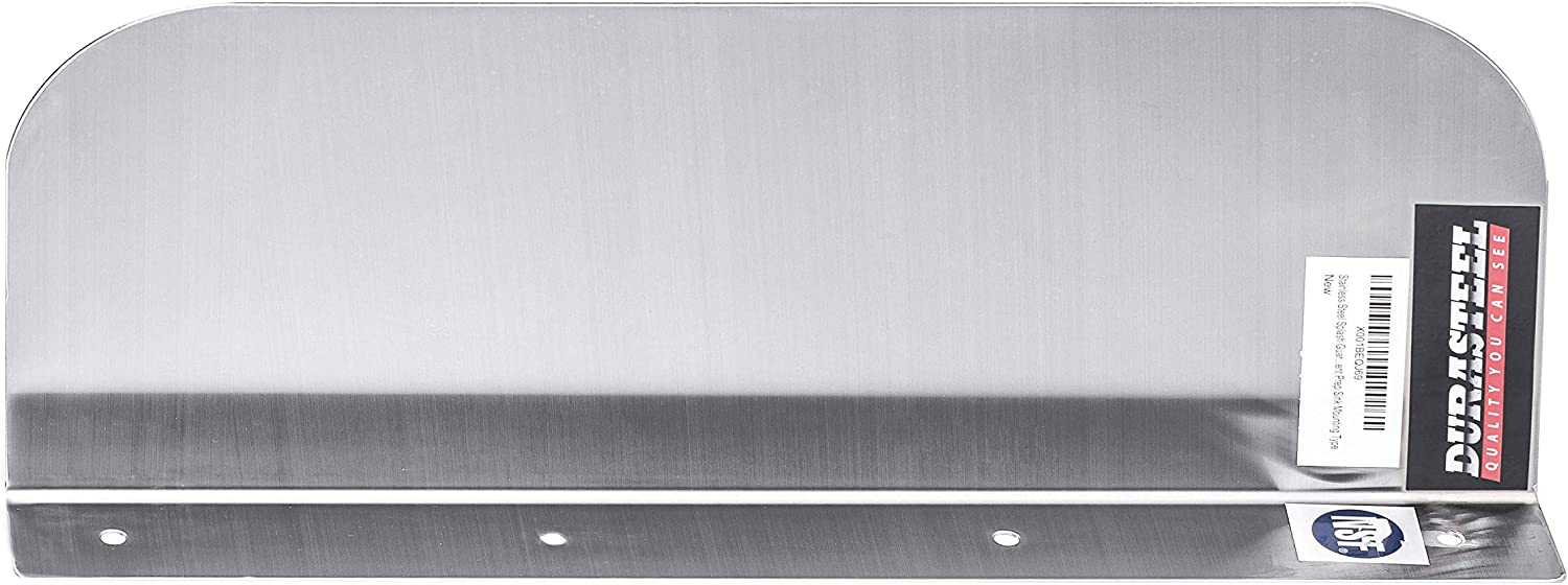 """DuraSteel Stainless Steel Side Splash Guard - 15"""" x 6"""" Deck Mount - For Commercial Usage - Hand Sinks and Compartment Prep Sinks - Sink Basin Safe Guard/Splatter Guard/Cross Contamination Sink Guard"""