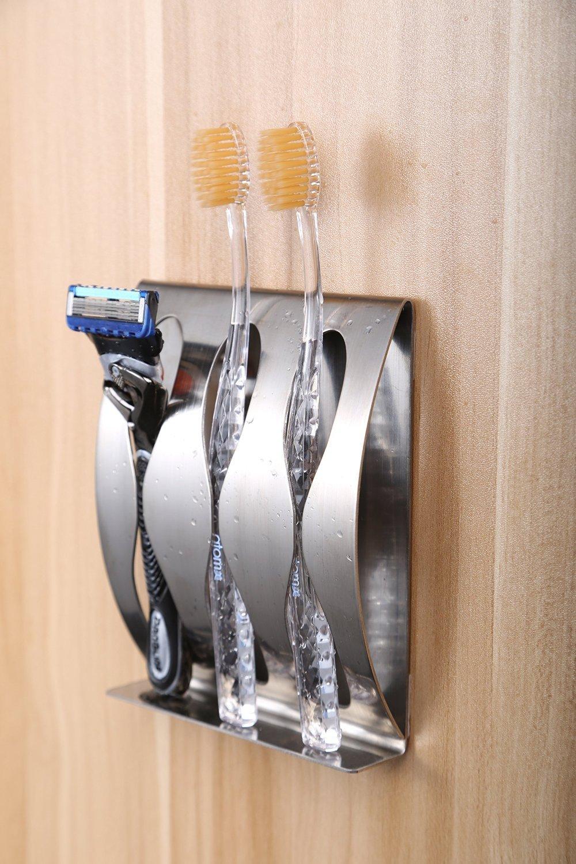 home-organizer Tech autoadhesivo Creative espejo de afeitar cepillo de dientes titular organizador soporte para pared para cuarto de baño armario de medicinas, armario de pared–Acero inoxidable pulido