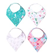 """Baby Bandana Drool Bibs for Drooling and Teething 4 Pack Gift Set for Girls """"Coral Set"""" by Copper Pearl"""