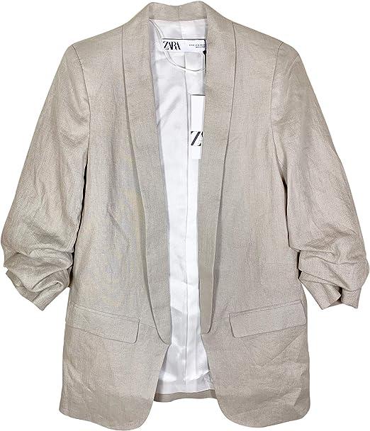 Zara 2731804 Giacca da Donna in Lino con Tasche Grigio S