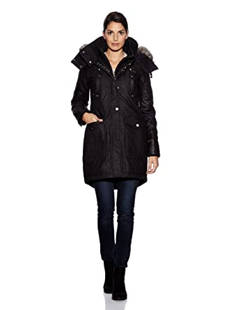 133d8e67 myMo Women's Parka Jacket with Removable Faux Fur Trim and Removable Collar  28233145 - Black -