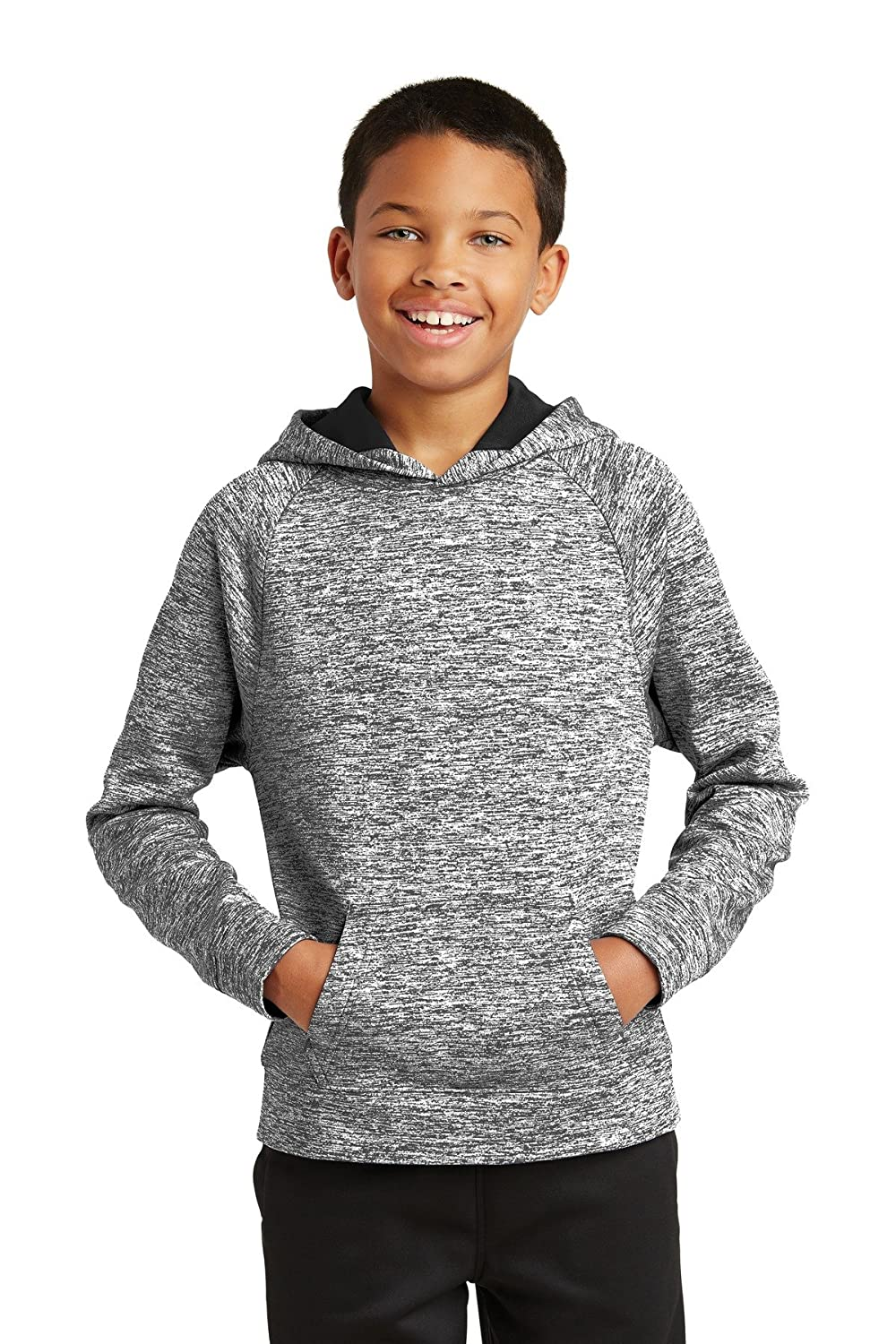 ST Youth PosiCharge Electric Heather Fleece Hooded Pullover S Black Electric