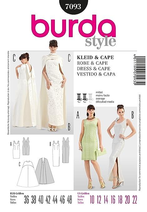 Burda Ladies Sewing Pattern 7093 - Evening Dresses & Cape Sizes: 10 ...