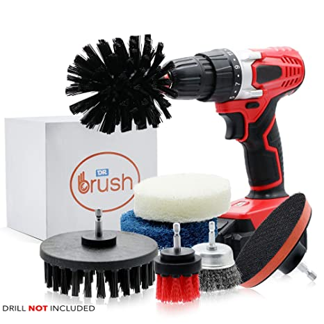 Dr Brush Drill Brush Power Scrubber Cleaning Attachment Set All Purpose  Bathroom Scrub Brushes Wire Cup for Shower, Kitchen Surfaces, Auto, Grout,