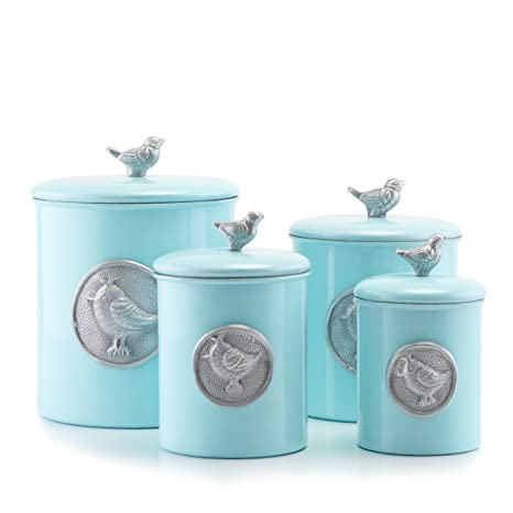 Old Dutch 1543 4piece Rustic Distressed Finish Bluebird Canister Set Blue