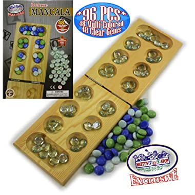Matty's Toy Stop Deluxe Solid Wood Folding Mancala Game with 48 Multi-Colored Gems and 48 Clear Gems (96 Gems Total)