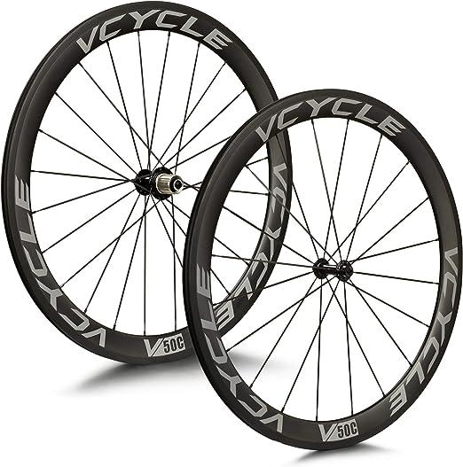 VCYCLE 700C Fibra de Carbono Carretera Bicicleta Ruedas 50mm Remachador 23mm Ancho 1700g Shimano o Sram 8/9/10/11 Velocidades: Amazon.es: Deportes y aire libre