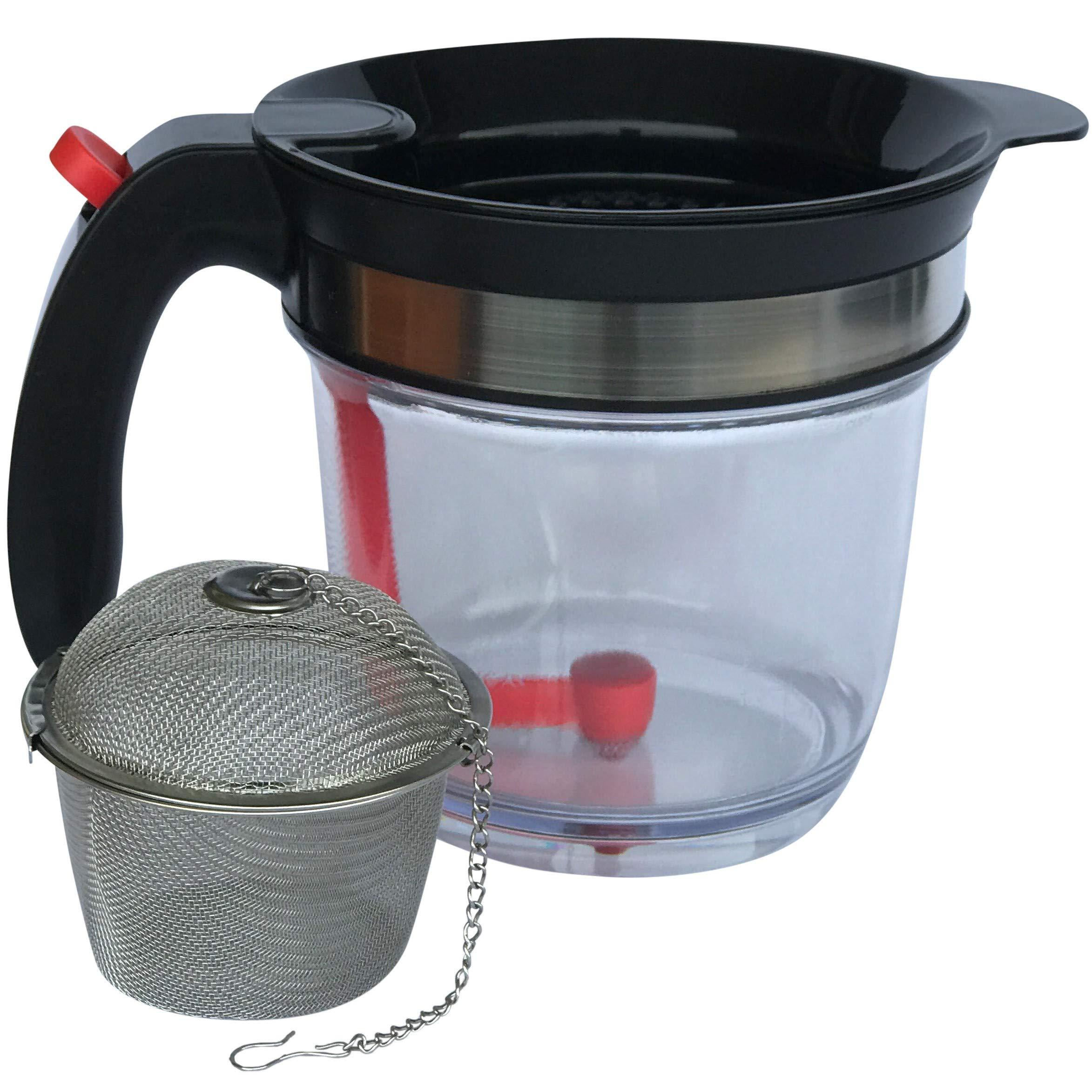 Fat Separator by JustGoSmarter - Also Works as Tea Infuser, Fruit Infuser, Pancake Batter Dispenser - Measuring Cup with Bottom Release - Gravy Strainer, Oil Separator, Grease Separator - 4-Cups
