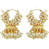 Muchmore Brass Jhumki Earrings For Girls And Women (White)