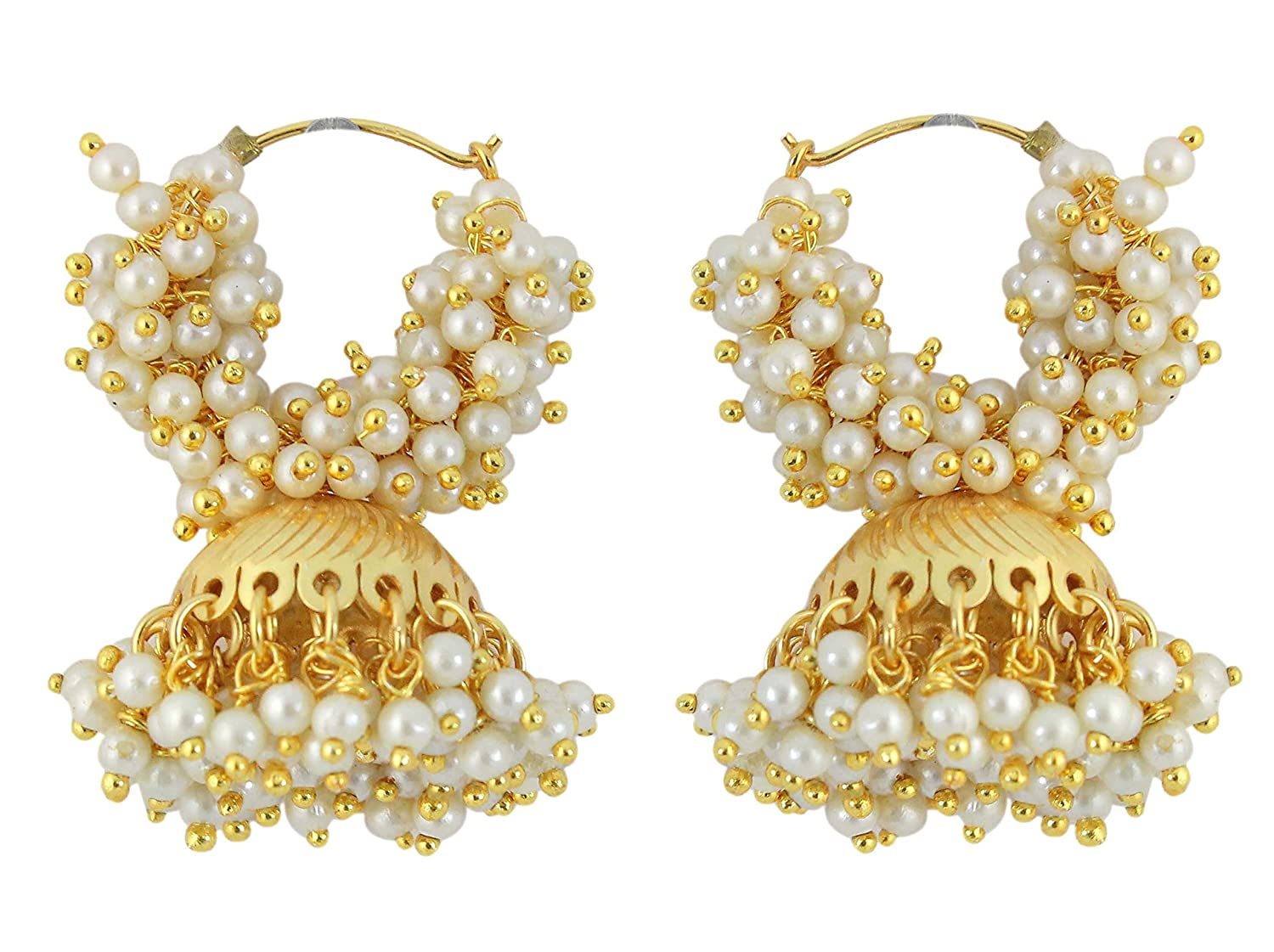 Muchmore Brass Jhumki Earrings For Girls And Women (White): MUCH ...