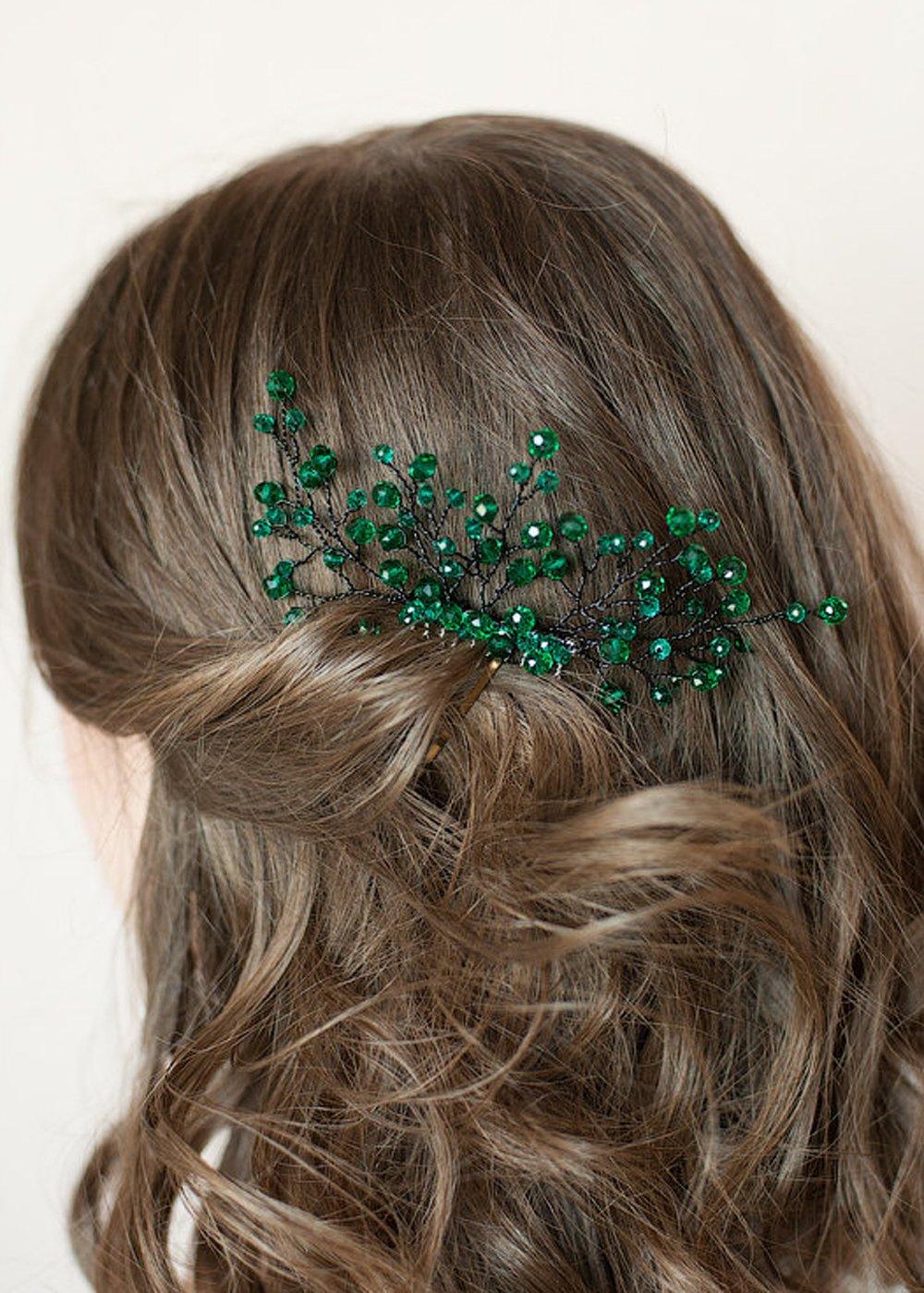 Handmadejewelrylady Bridal Green Rhinestone Flower Hair Comb Wedding Crystal Headpiece Elegant Headwear