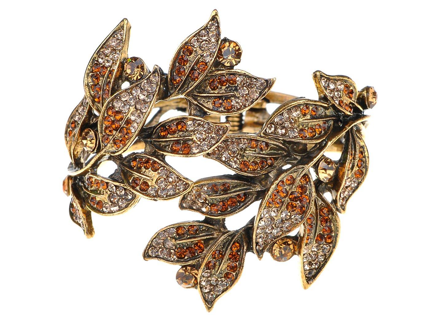 Alilang Golden Tone Peach Topaz Colored Rhinestones Leaf Cuff Wrap Bracelet