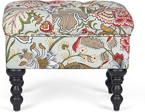 Edeco Fabric Tufted Ottoman Bench with Generously Padded top Flower