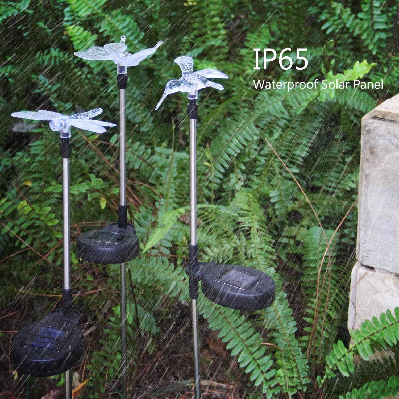 Colibr/ì Farfalla Libellula Confezione da 3 luci da Giardino a energia Solare Illuminazione Decorativa paesaggistica Luci da Giardino a energia Solare Multicolore Che cambiano Colore