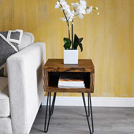 WELLAND Solid Pine Wood Nightstand Edge End Table Side Table Coffee Table with Metal-Leg, 15.5 L x 13.5 W x 22 H