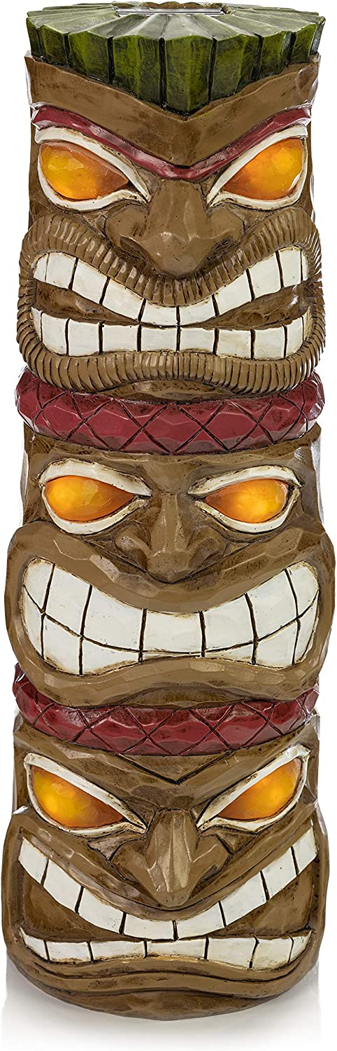VP Home Triple Tiki Totem Solar Powered LED Outdoor Decor Garden Light