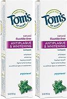 Tom's of Maine Fluoride-Free Antiplaque & Whitening Toothpaste, Whitening Toothpaste, Natural Toothpaste, Peppermint,...
