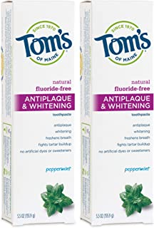 product image for Tom's of Maine Fluoride-Free Antiplaque & Whitening Natural Toothpaste, Peppermint, 5.5 oz. 2-Pack