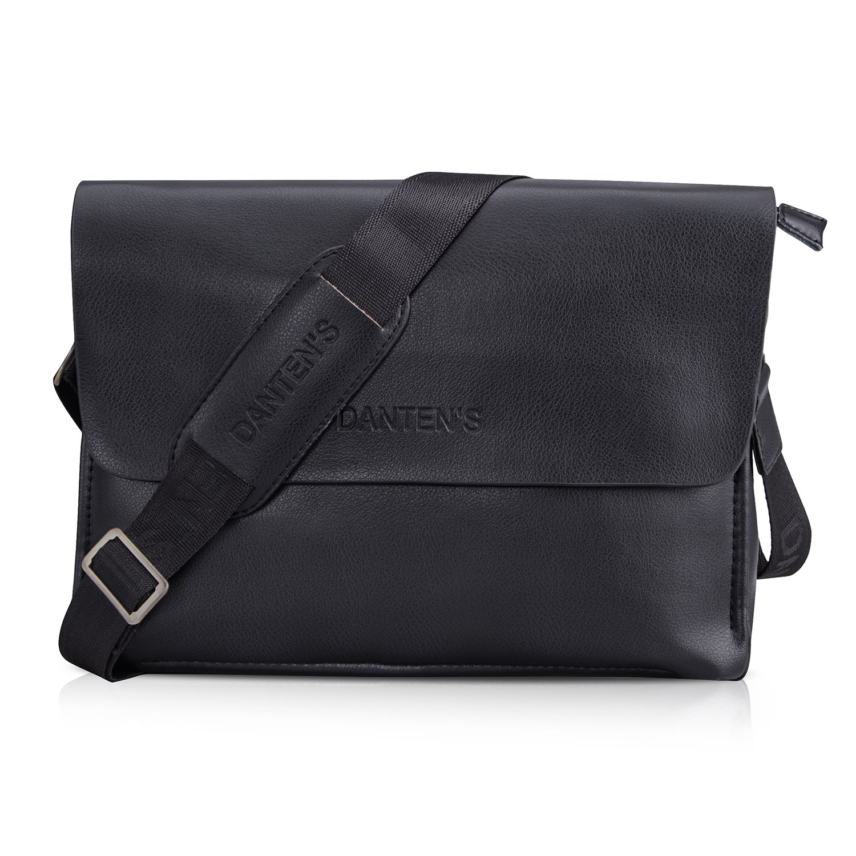 OFTEN メンズ 本革 ハンドバッグ ショルダー ブリーフケース ノートパソコン iPadバッグ デイリー メッセンジャー サッチェルバッグ ビジネス オフィス 仕事 学校 旅行バッグ(水平)  ブラック B07LB311VC