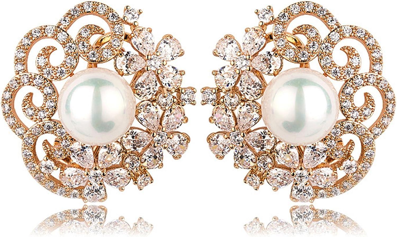 Beydodo Pendientes Chapado en Oro Pendientes Flor Perla Pendientes de Mujer Pendientes Cristal Rosa Palo Pendientes Oro Blanco