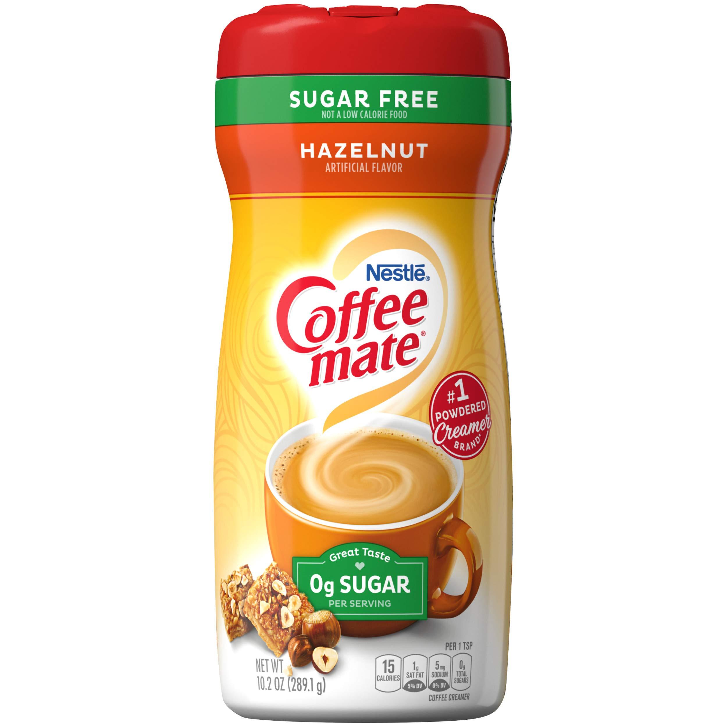 COFFEE MATE Sugar Free Hazelnut Powder Coffee Creamer 10.2 oz. Canister (Pack of 6)