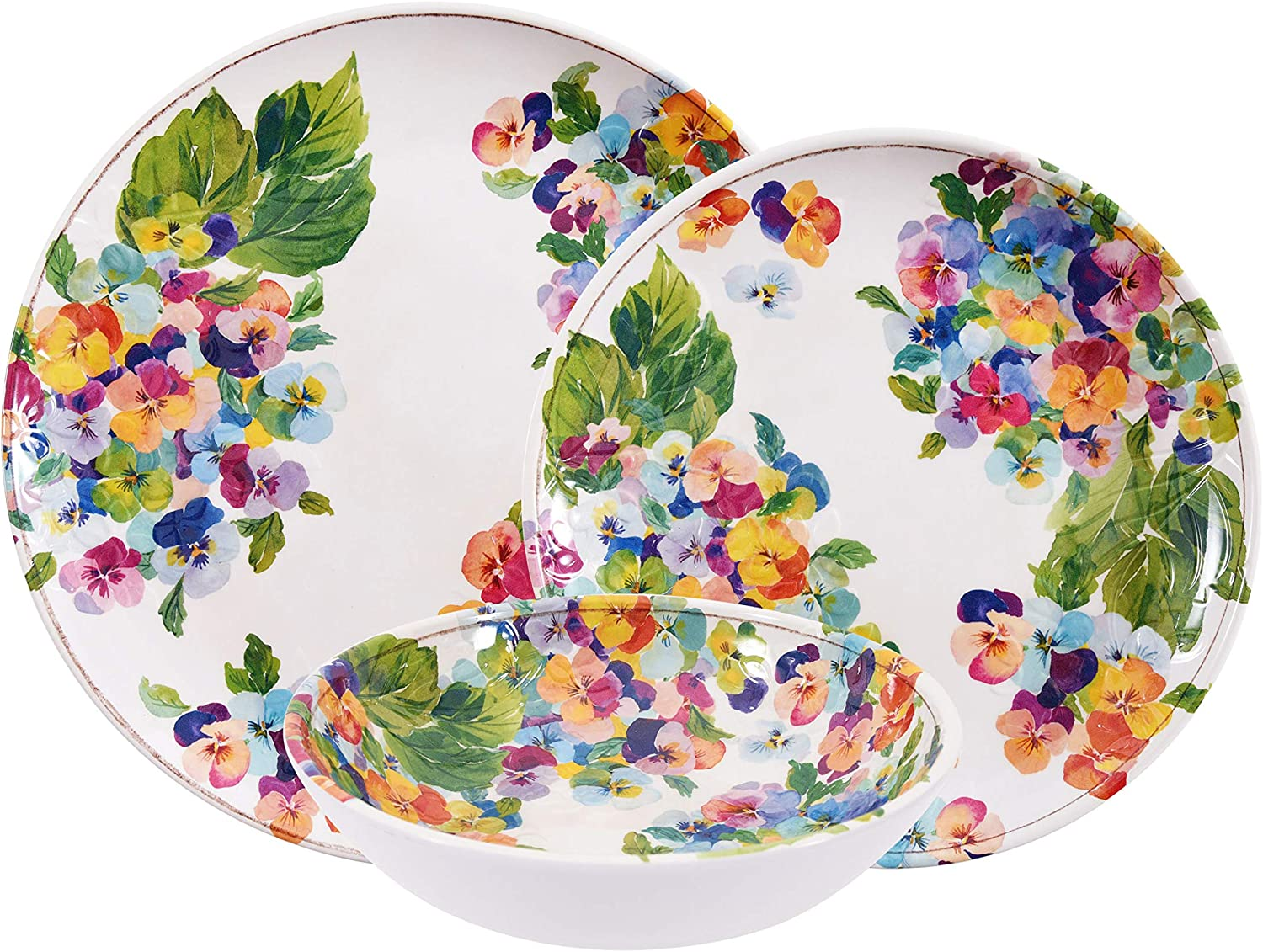 First Design Global 12 Piece Melamine Dinnerware Set, Dishes for Everyday Use, Service for 4, Pansies