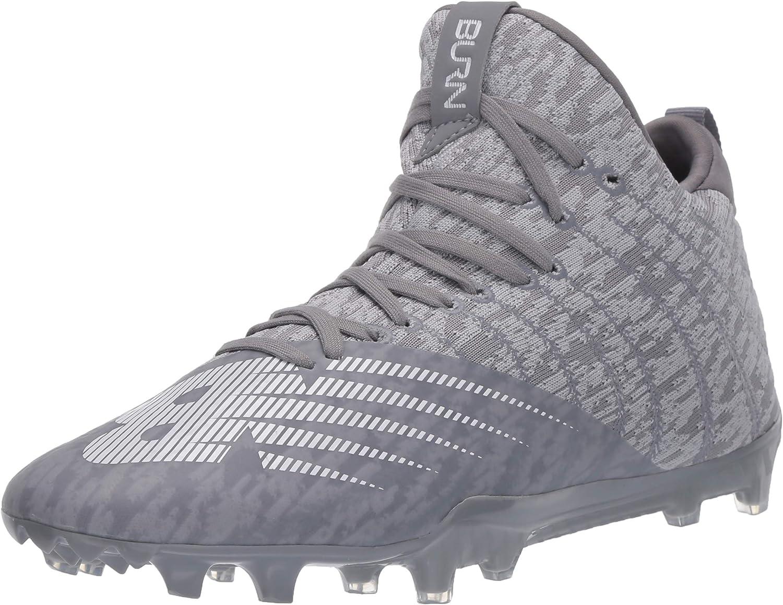 Image of Field Hockey & Lacrosse New Balance Men's Burn X2 Mid-Cut Lacrosse Shoe, Grey, 8 2E US