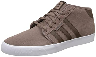 Adidas Men s Seeley Mid Trabrn Brown Ftwwht Leather Skateboarding Shoes - 6  UK  fe4159a85