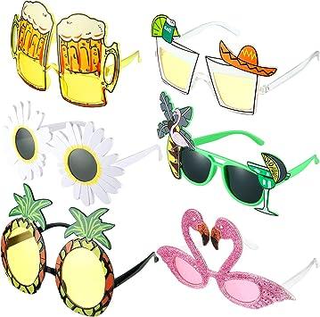 Gejoy 6 Paires Nouveauté Lunettes de Soleil de Fête Lunettes de Soleil Tropicales Hawaïennes Lunettes de Costume Drôle Créatif Lunettes de de Fête