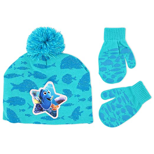 46915476101 Disney Little Girls Finding Dory Hosiery Acrylic Knit Winter Beanie Hat  with Pom and Matching Mitten