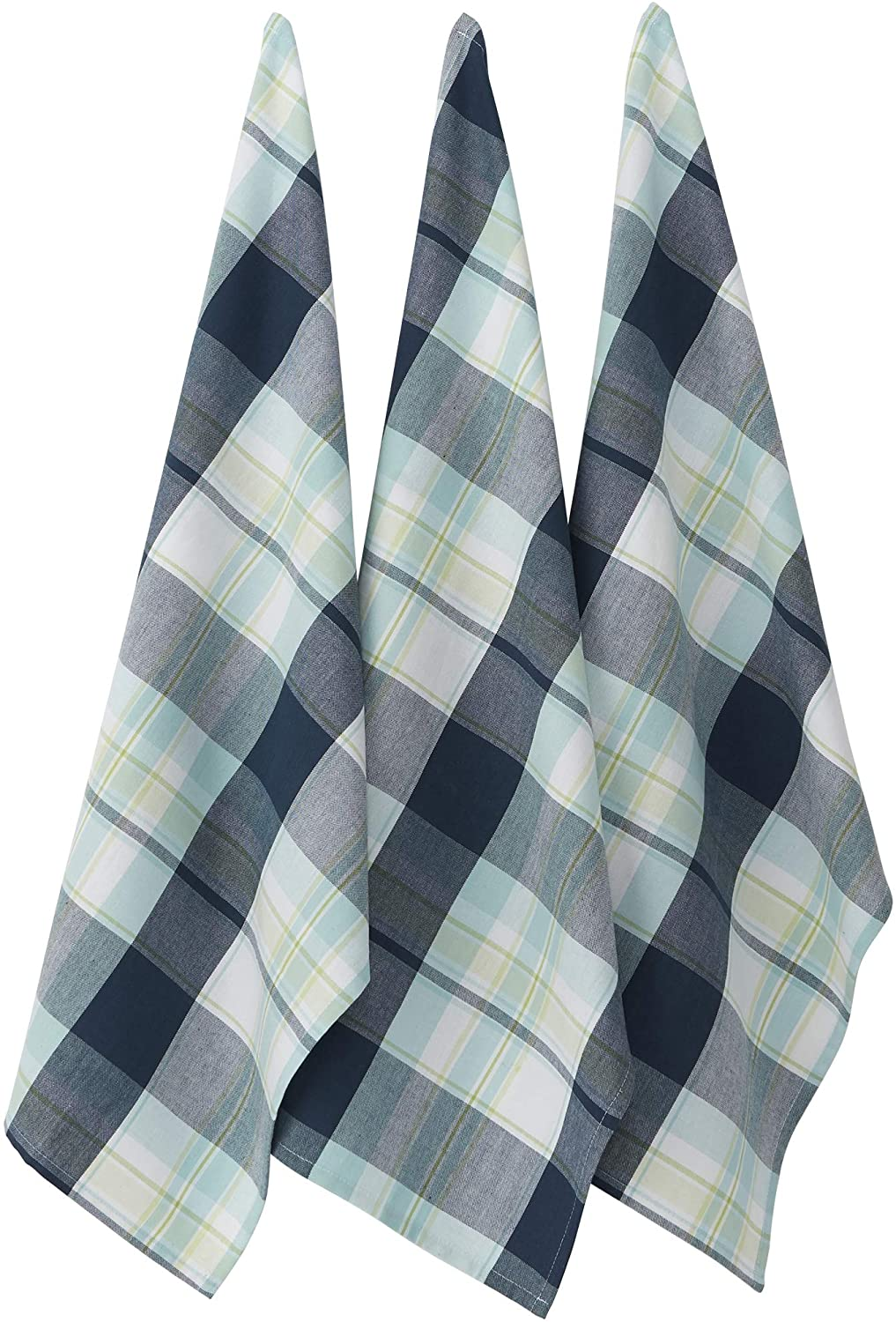 DII 100% Cotton Lake Plaid Kitchen Towels, Set of 2