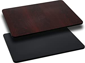 Flash Furniture 2 Pk. 30'' x 42'' Rectangular Table Top with Black or Mahogany Reversible Laminate Top
