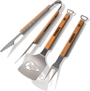 "YouTheFan NFL Classic Series 3-Piece BBQ Grill Set: 18"" Stainless Steel Sportula (Spatula), Fork & Tongs with 2 Bottle Openers"