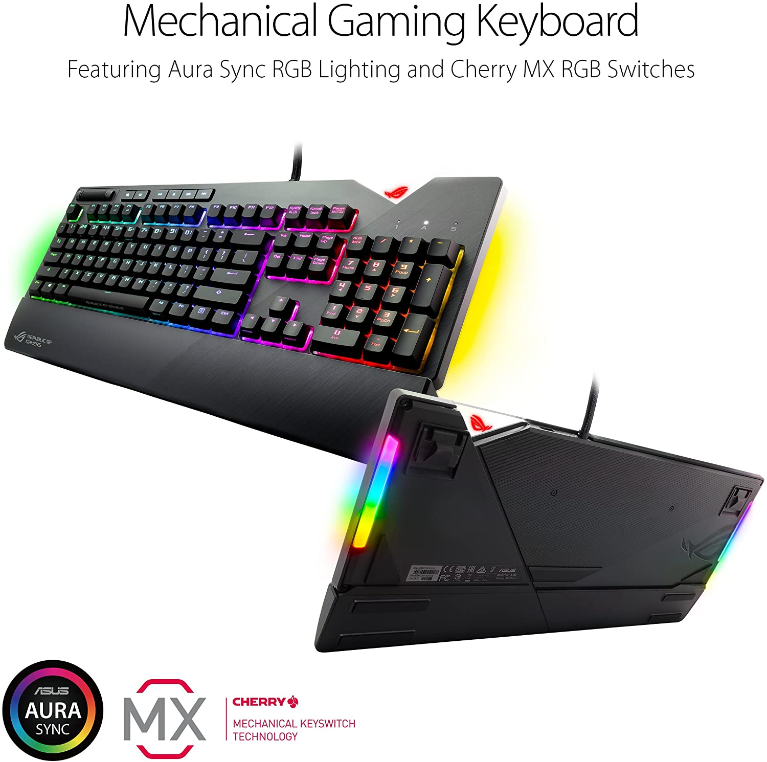 Aura Sync RGB Lighting Cherry MX Speed Silver Switches USB Pass-Through and Media Controls CMSS Asus ROG Strix Flare RGB Mechanical Gaming Keyboard with Customizable Badge