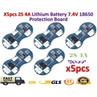 TECNOIOT 5pcs 2S 4A 7.4V Li-Ion Lithium 18650 BMS PCM Battery Protection Board