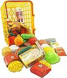 Vinsani Childrens Kids 49 Pieces Pretend Play Kitchen Food Shopping Basket Play Set