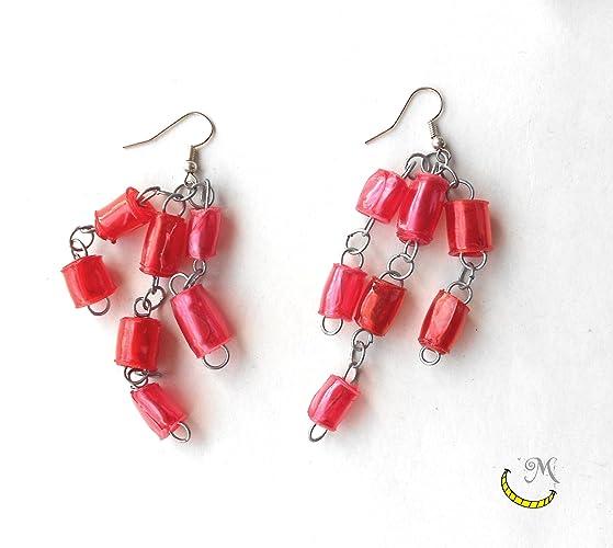 Pendientes de perlas de plastico reciclado hechas a mano - rojo - pendientes navidenos