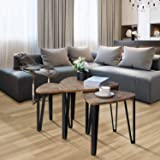 Kealive Nesting Coffee Tables Sets of 3 Living Room Industrial Stacking End Side Tables Modern for Bedroom Table Set with Sturdy Metal Legs, Modern Furniture Vintage Nightstands, Wood Grain