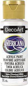 DecoArt DA-01 Americana Acrylic Paint, 2-Ounce, Titanium, 2 Oz, Snow White