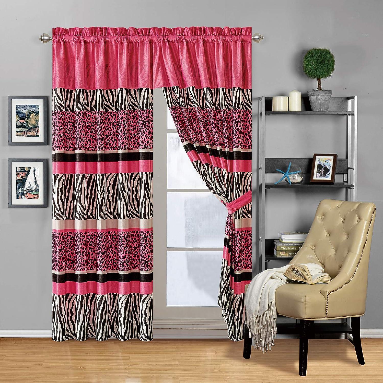 "Modern 4 - Piece Hot Pink Black Animal Print Safari Curtain Set, Leopard, Zebra, Velvet Drapes/Window Panels 116"" Wide X 84"" Tall"