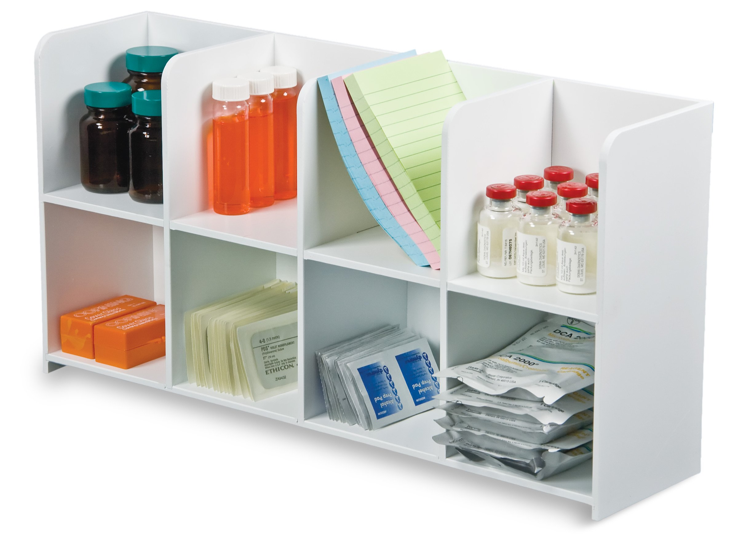 TrippNT 50669 White PVC/Acrylic Plastic Standing Storage Bin with 8 Compartments, 20.25'' Width x 10'' Height x 5'' Depth