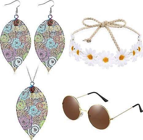 Juego de 4 Piezas Disfraces de Hippie Incluye Gafas de Sol ...