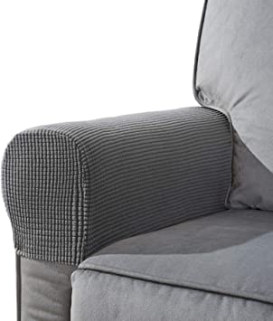 2Pcs Armrest Covers Polyester spandex Protectors Protect Chair Arms Gray