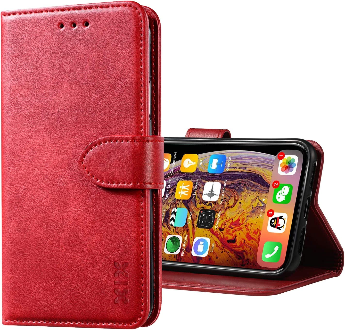 XIX iPhone Xs Max Case Premium Genuine Leather Flip Folio Cover with Kickstand and Wallet Credit Slots for Apple iPhone Xs Max (Red,iPhone Xs Max)