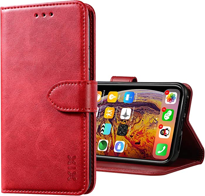 XIX iPhone X Case Premium Genuine Leather Flip Folio Cover with Kickstand and Wallet Credit Slots for Apple iPhone X XS (Red,iPhone X/XS)
