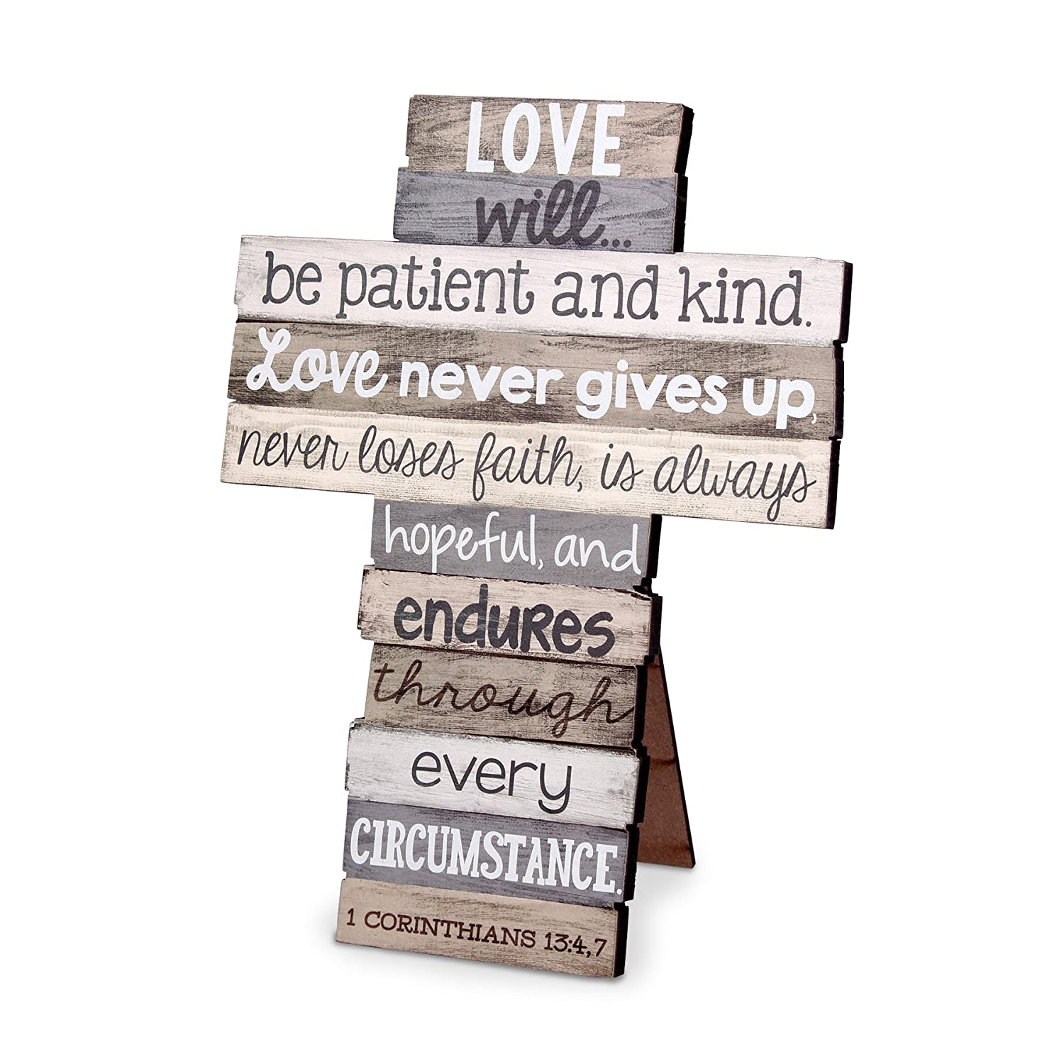 Lighthouse Christian Products Small Love Stacked Wood Wall/Desktop Cross 11428