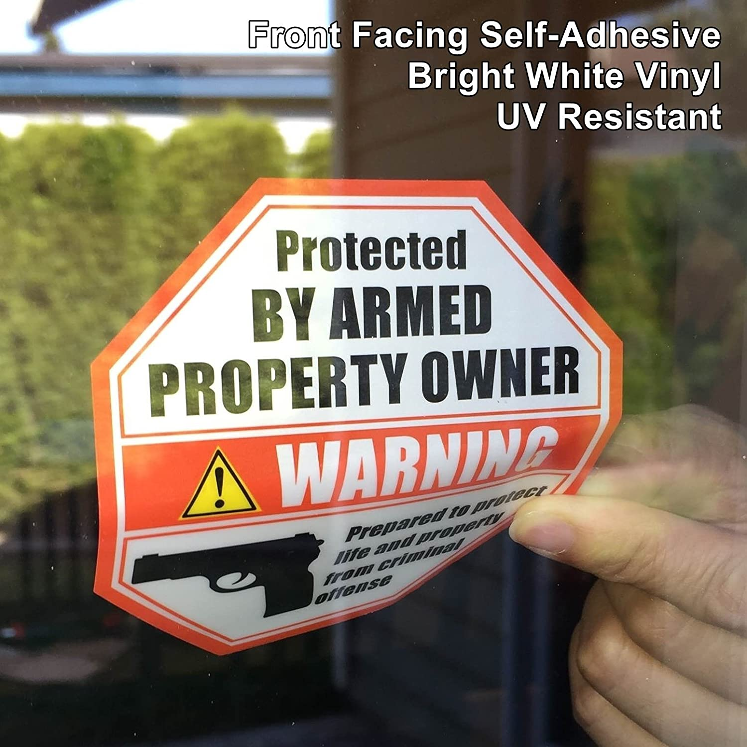 **Front Facing Self Adhesive Vinyl** (4 Pack) 89mm X 89mm PROTECTED BY ARMED PROPERTY OWNER Home Business Window Door Gun Handgun Warning Alert Sticker Decals.